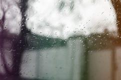 Gotas da chuva no vidro Fotografia de Stock Royalty Free