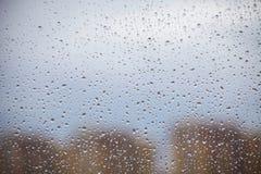 Gotas da chuva no vidro de janela Imagem de Stock Royalty Free