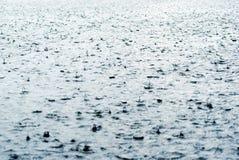 Gotas da chuva que batem a superfície da água Imagens de Stock