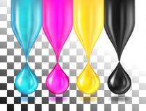 Gotas da cor de CMYK no branco Imagem de Stock Royalty Free