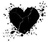 Gotas da forma e da pintura do coração do Grunge chapinhadas ilustração royalty free