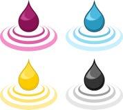 Gotas da tinta de CMYK Imagens de Stock Royalty Free
