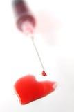 Gotas dadas forma coração do sangue Foto de Stock Royalty Free