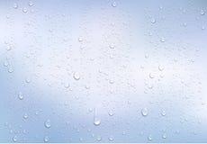Gotas de água realísticas na janela transparente ilustração stock