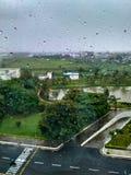 Gotas de agua en ventana con los árboles y el camino verdes del alquitrán Foto de archivo libre de regalías