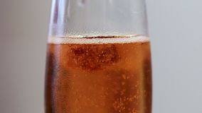 Gotas de la frambuesa en vidrio de vino espumoso metrajes