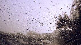 Gotas de la lluvia en fondo/descensos de cristal azules sobre el vidrio metrajes