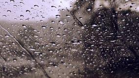 Gotas de la lluvia en fondo/descensos de cristal azules sobre el vidrio almacen de video