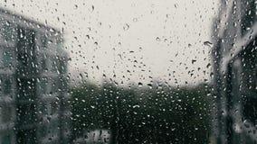 Gotas de la lluvia en un cristal de ventana metrajes
