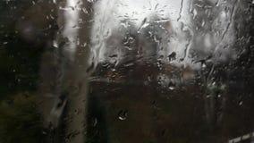 Gotas de lluvia en la ventana de un tren móvil en primavera con los árboles, los arbustos y las casas pasando cerca almacen de video