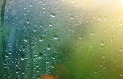 Gotas de lluvia sobre el vidrio de ventana Árboles y fondo verdes de la luz del sol foto de archivo libre de regalías