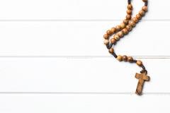 Gotas de madera del rosario Fotografía de archivo libre de regalías