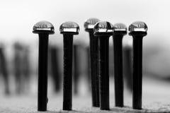 Gotas del agua en clavos Imagen de archivo