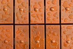 Gotas del agua en el suelo de madera Imágenes de archivo libres de regalías