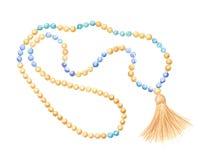 gotas del rosario, de madera y piedra lunar Foto de archivo libre de regalías