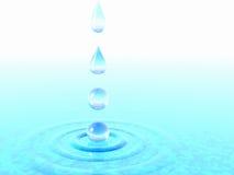 Gotas descendentes del agua. Imagen de archivo