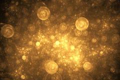 Gotas douradas coloridas abstratas no fundo preto Imagens de Stock Royalty Free