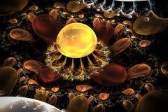 Gotas douradas do Fractal Foto de Stock Royalty Free