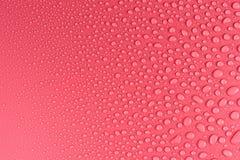 Gotas em um cor-de-rosa, fundo da água do resíduo metálico iluminado com uma luz delicada imagens de stock