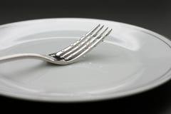 Gotas en una fork foto de archivo