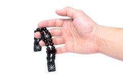 Gotas en una palma abierta Fotos de archivo