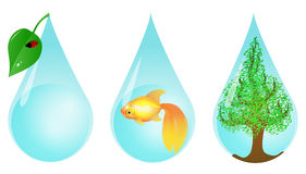 Gotas a favor do meio ambiente da água Fotografia de Stock