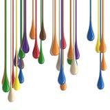 gotas lustrosas coloridas multicoloridos da gota da pintura 3D imagem de stock