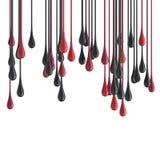 gotas lustrosas vermelhas e pretas de 3D da pintura da gota Fotos de Stock Royalty Free