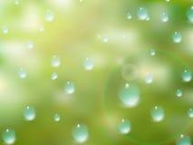 Gotas naturales del agua sobre el vidrio EPS10 más stock de ilustración
