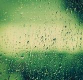Gotas sobre el vidrio después de la lluvia Fotografía de archivo libre de regalías