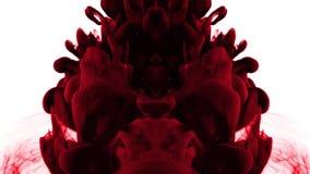 Gotas vermelhas na água - imagem invertida da tinta ilustração do vetor