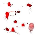 Gotas y huella digital de sangre Fotografía de archivo