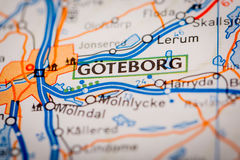 Goteborg City on a Road Map Stock Photo