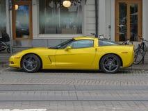 Yellow Chevrolet Corvette car in Goteburg Royalty Free Stock Image