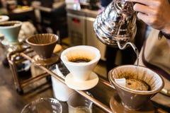 Gotejamento do café Fotografia de Stock