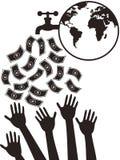 Gotejamento do dinheiro da torneira de água Imagem de Stock Royalty Free