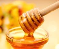 Gotejamento grosso do mel da vara de madeira fotos de stock royalty free