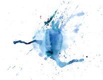 Gotejamentos azuis da mancha da aquarela brilhante Ilustração abstrata em um fundo branco foto de stock