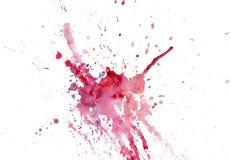 Gotejamentos cor-de-rosa-vermelhos da mancha da aquarela brilhante Ilustração abstrata em um fundo branco Bandeira para o texto,  ilustração stock