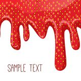 Gotejamentos do doce de morango no fundo branco Imagens de Stock Royalty Free