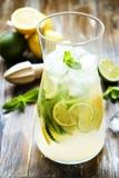 Goten de de zomer gezonde niet alcoholische cocktails, citrusvrucht waterdranken, limonades met kalkcitroen of sinaasappel, dieet Stock Foto's