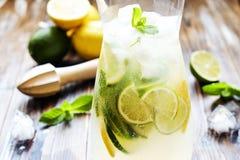 Goten de de zomer gezonde niet alcoholische cocktails, citrusvrucht waterdranken, limonades met kalkcitroen of sinaasappel, dieet Stock Foto