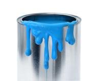 Goteo azul de la pintura imagenes de archivo