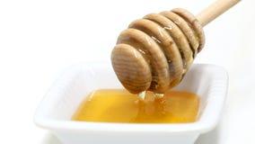 Goteo de la miel del cazo de la miel en el cuenco blanco almacen de metraje de vídeo