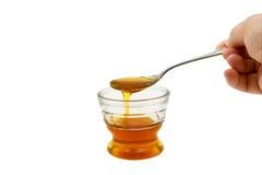 Goteo de la miel en el pequeño tazón de fuente de cristal Imágenes de archivo libres de regalías