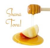 goteo de la miel en la manzana aislada en un blanco Hashanah de Rosh y x28; holiday& judío x29 del Año Nuevo; concepto Imagen de archivo libre de regalías