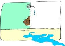 Goteo del agua de un golpecito viejo Foto de archivo libre de regalías