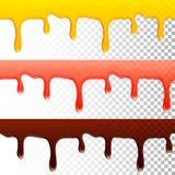 Goteos transparentes inconsútiles del chocolate del atasco de la miel Foto de archivo libre de regalías