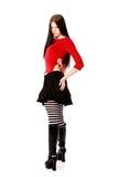 goth девушки рассматривая красная сексуальная верхняя часть плеча Стоковое Изображение