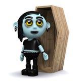 goth 3d punk avec un cercueil Photo libre de droits